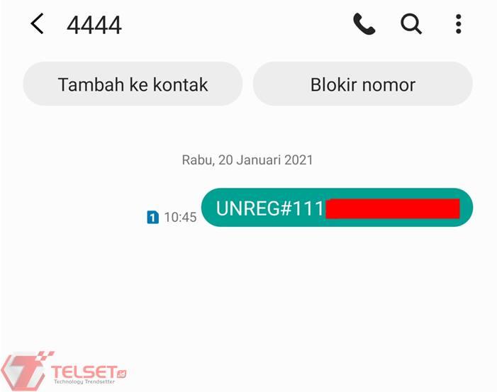 cara unreg kartu telkomsel SMS