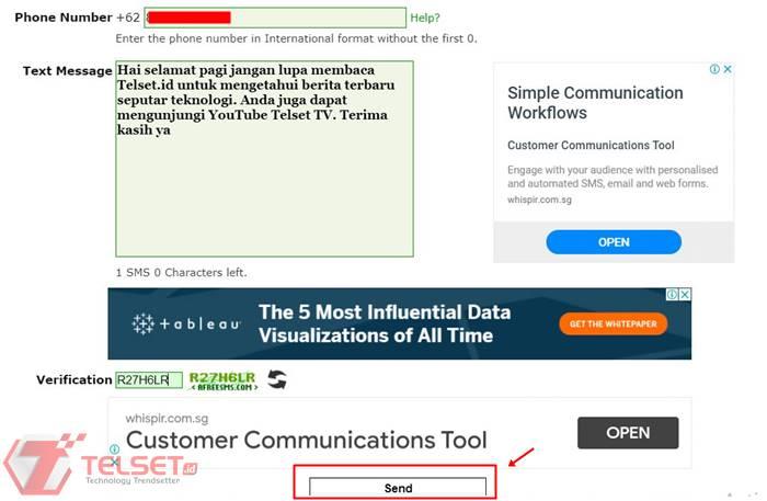 Cara kirim sms gratis Melalui Situs Online PC