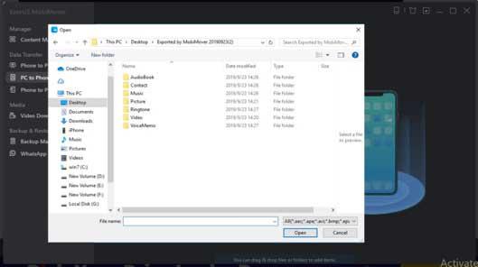 EaseUS MobiMover Open File