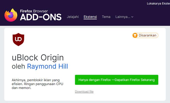 Download dengan Add-on Mozilla Firefox