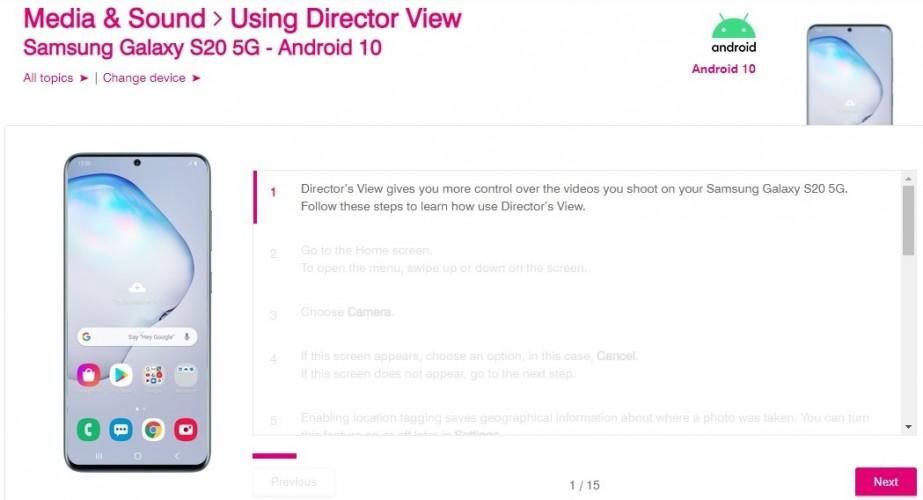 Director's View Samsung Galaxy S20