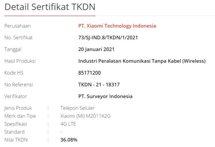 Xiaomi Mi 11 Indonesia