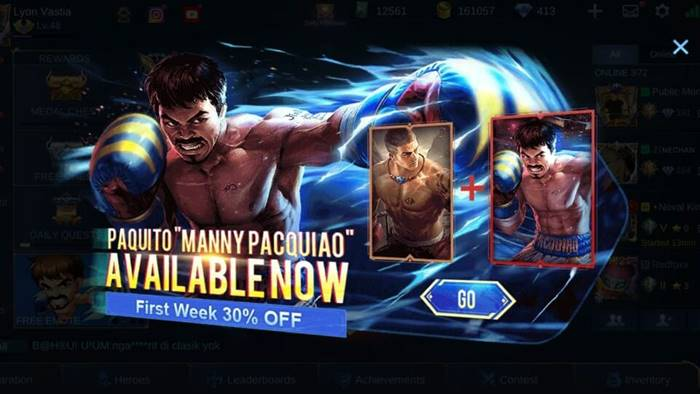 Sikat!! Skin Manny Pacquiao Sudah Rilis di Mobile Legends