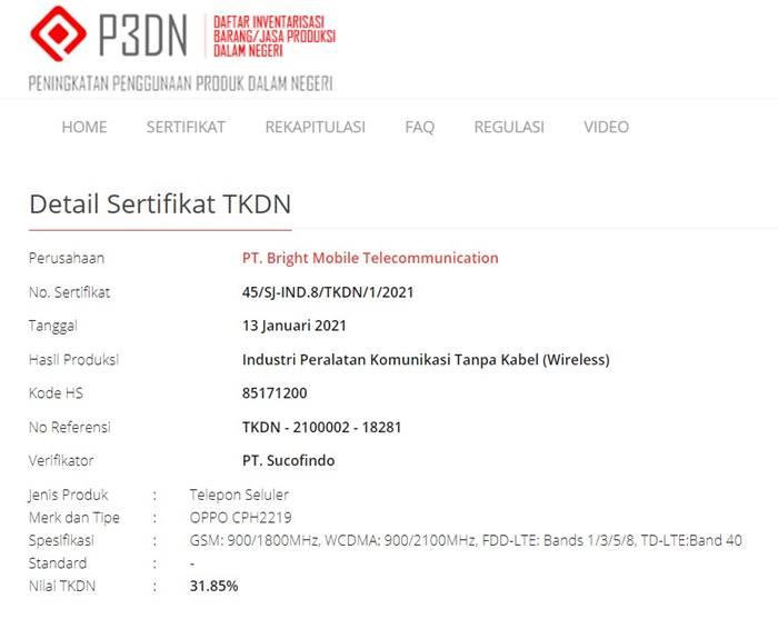 TKDN Oppo A Series Oppo A92
