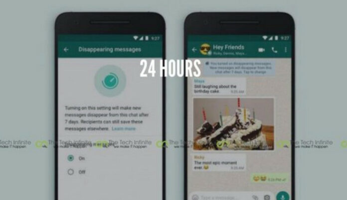 Hapus pesan WhatsApp 24 jam