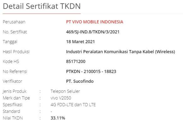 sertifikat tkdn Vivo V21 Indonesia
