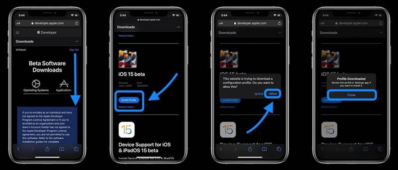 Cara install iOS 15 iPadOS 15