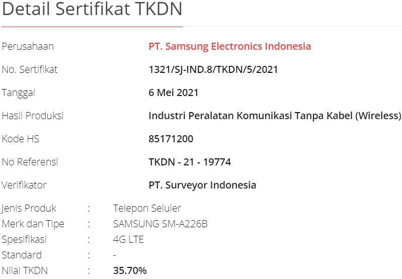 TKDN Samsung Galaxy A22 5G Indonesia