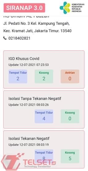 Cara Cek IGD Rumah Sakit Pasien Covid-19 SIRANAP 3.0