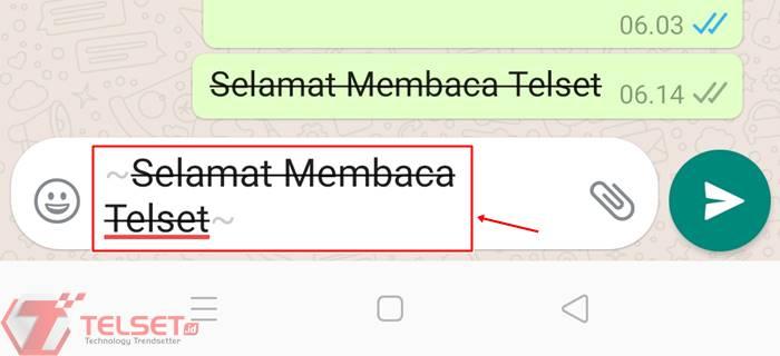 Cara membuat tulisan WhatsApp jadi dicoret