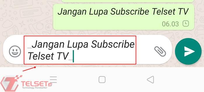 Cara membuat tulisan WhatsApp jadi miring italic