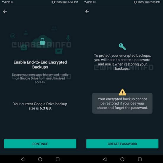 WhatsApp backup cloud terenkripsi