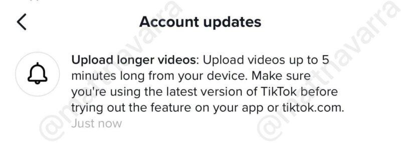 Durasi Video TikTok 5 menit