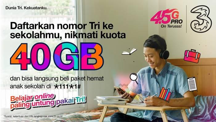 Bantuan Kuota Internet 40 GB Tri Indonesia Siswa