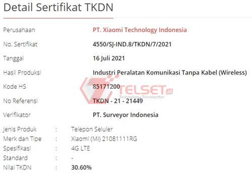 TKDN Xiaomi Mi 11T Indonesia