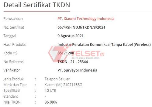 TKDN Xiaomi Mi 11T Pro Indonesia