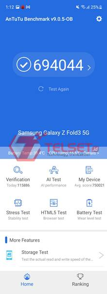 Antutu Samsung Galaxy Z Fold3