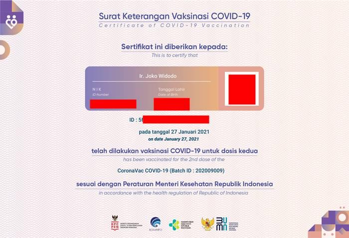 Sertifikat vaksin Covid-19 Joko Widodo