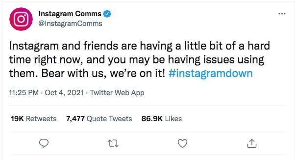 Instagram Twitter Gangguan Keterangan Resmi Facebook WhatsApp